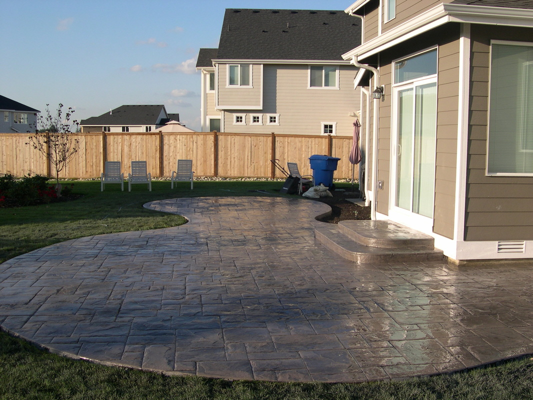 stamped concrete patio with stairs. Contemporary Patio Picture Stamped Patio And Steps Intended Concrete Patio With Stairs O